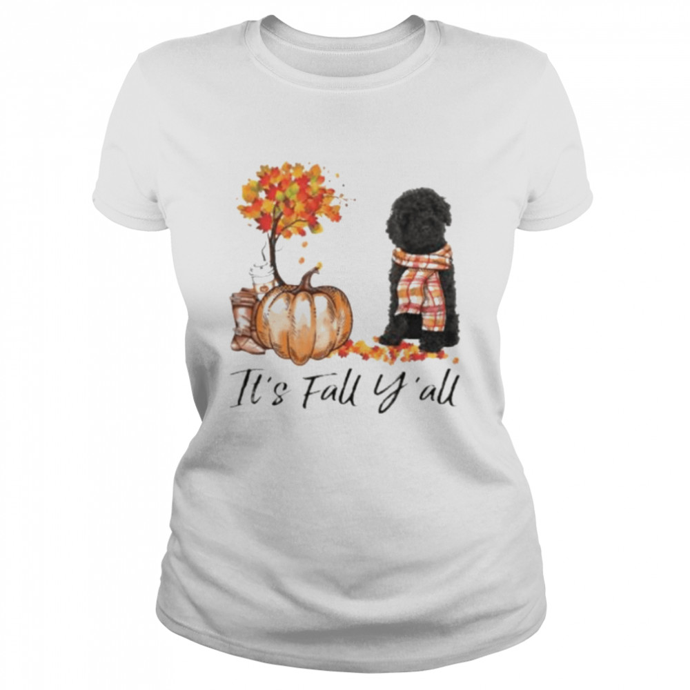 Black Labradoodle Dog It's Fall Y'all Happy Halloween T-shirt Classic Women's T-shirt