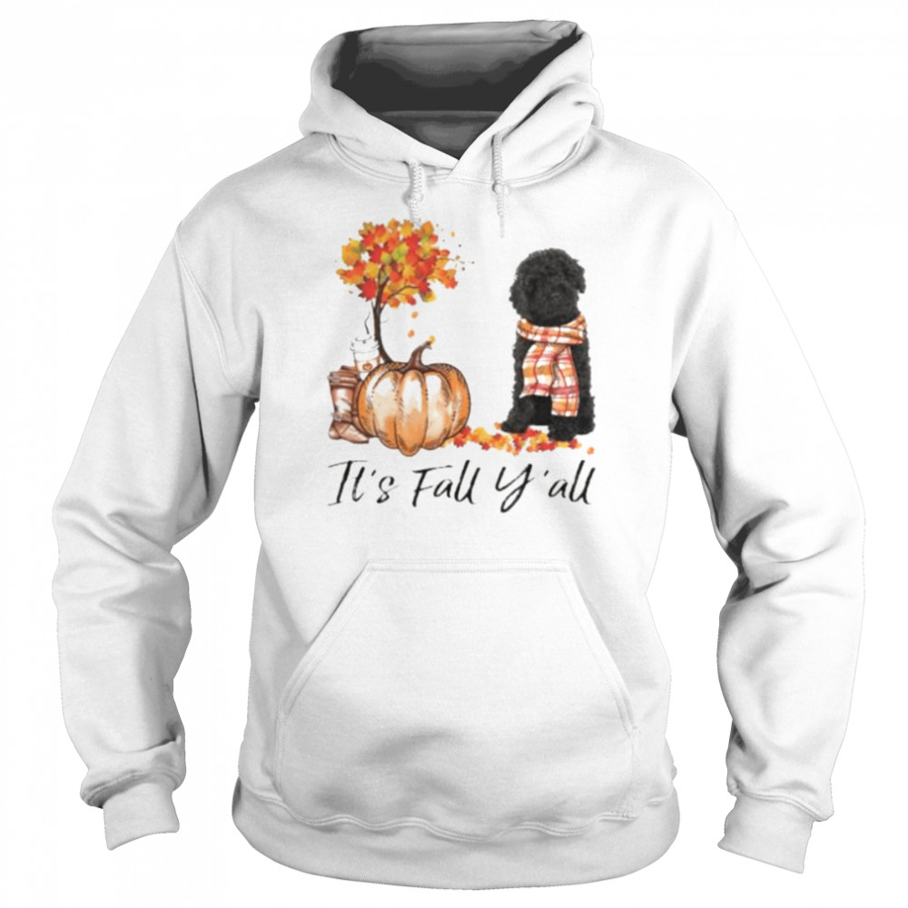 Black Labradoodle Dog It's Fall Y'all Happy Halloween T-shirt Unisex Hoodie