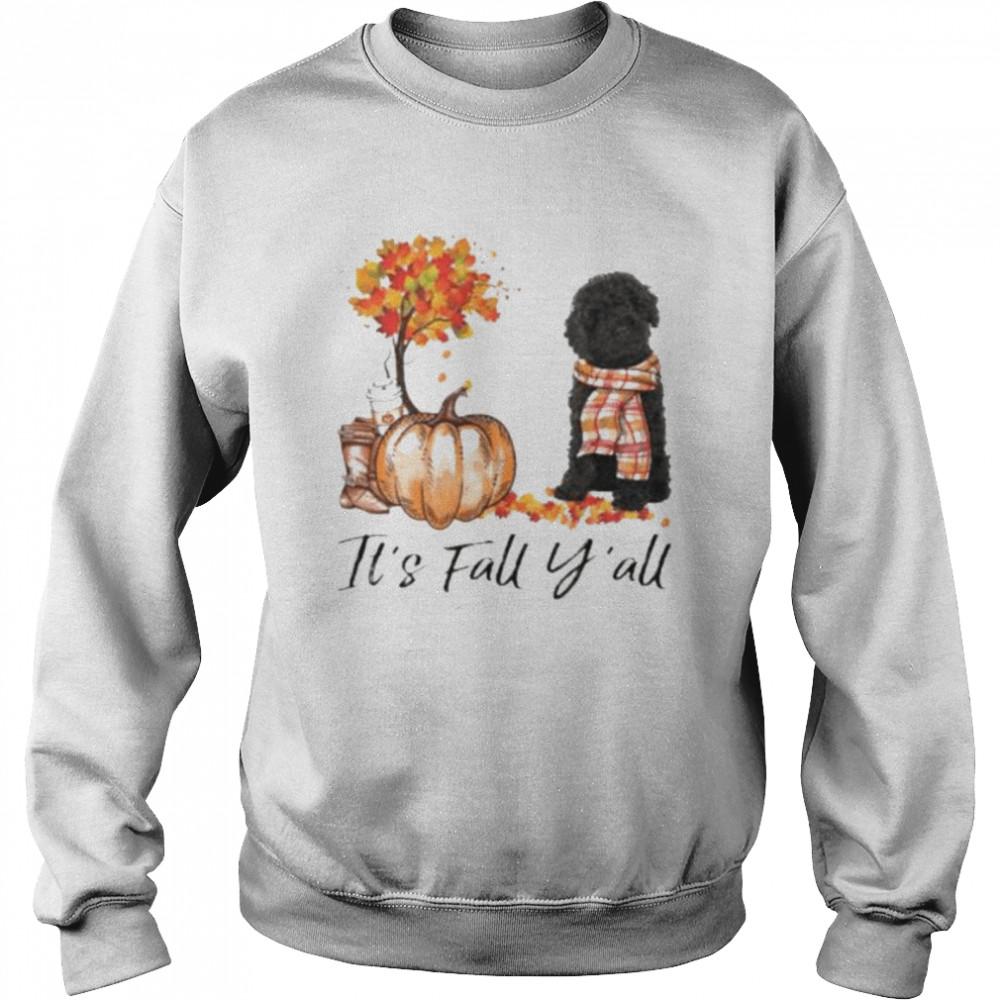 Black Labradoodle Dog It's Fall Y'all Happy Halloween T-shirt Unisex Sweatshirt