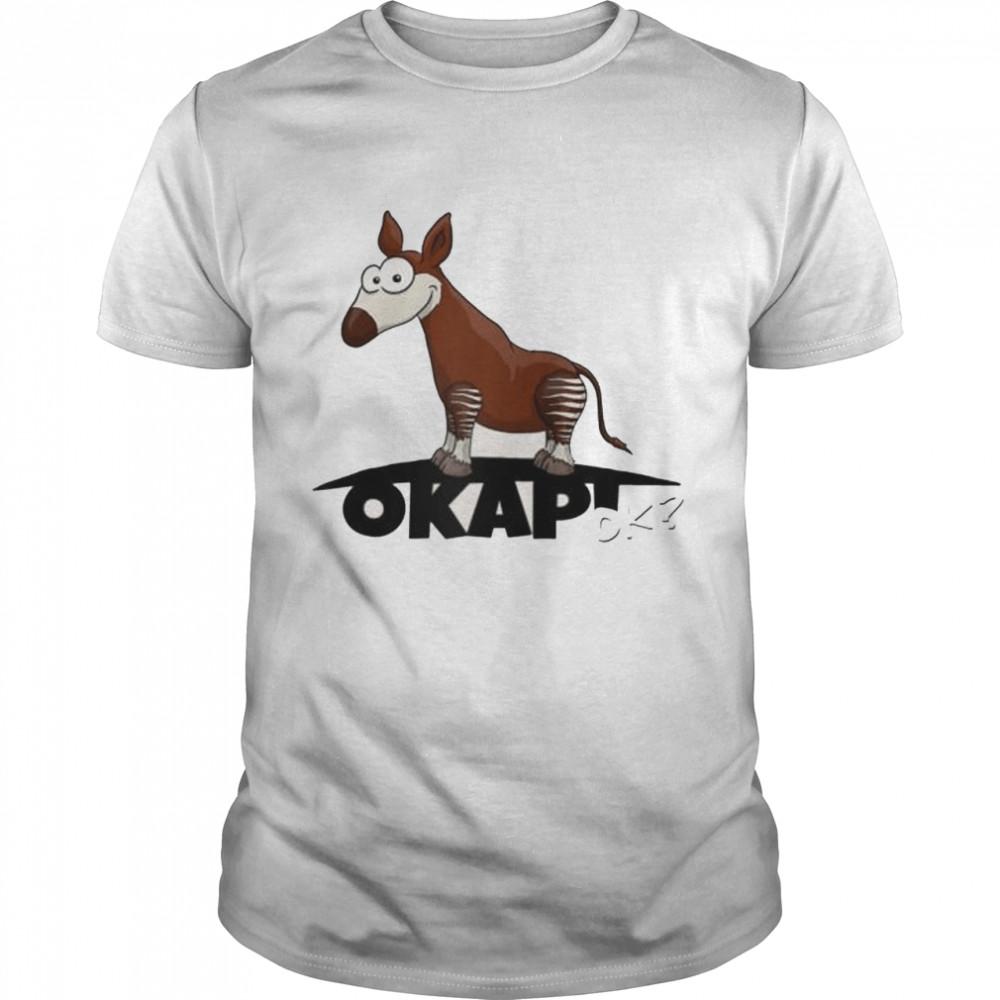Cool forest giraffe funky cartoon Okapi OK Raglan Shirt