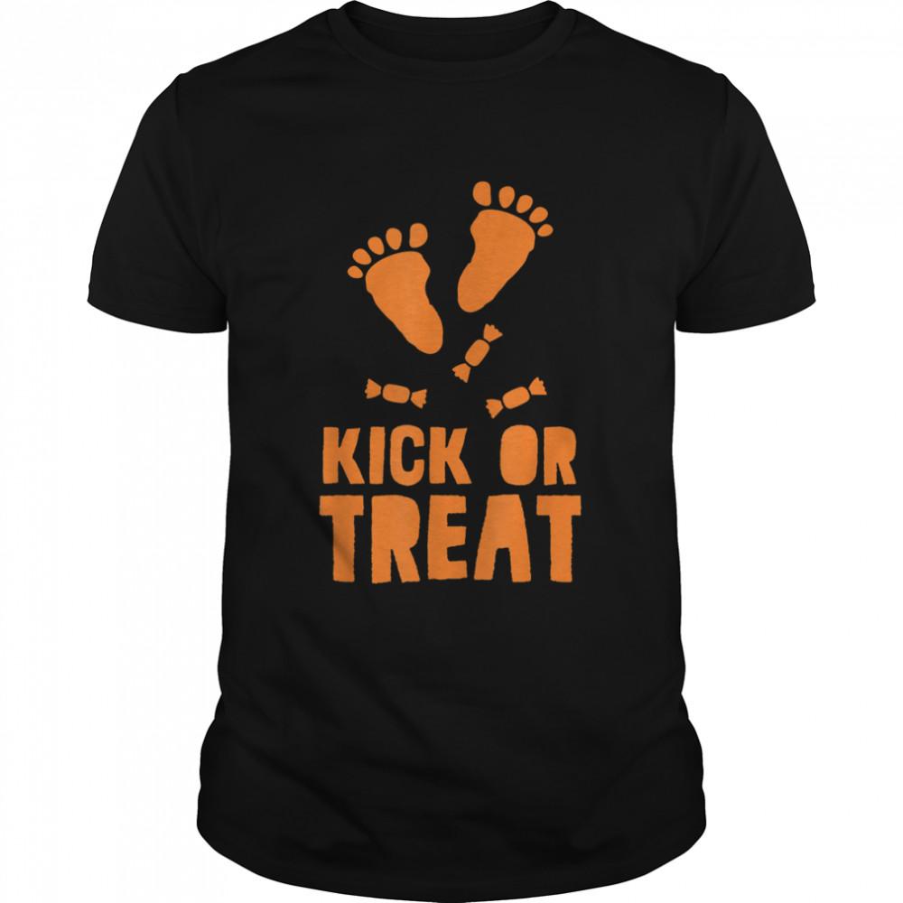Trick or Kick, Treat or Trick Pregnant Halloween Shirt