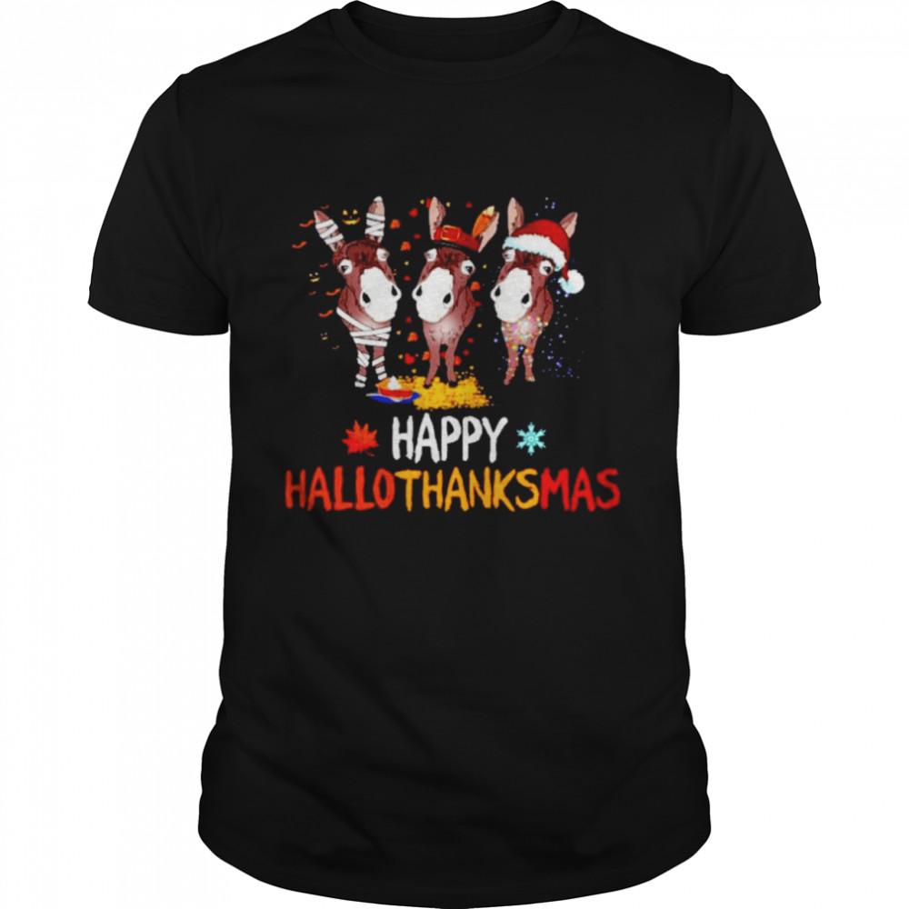 Donkeys happy Hallothanksmas Halloween Thanksgiving Christmas shirt