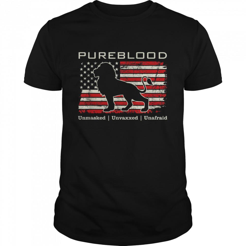 Pureblood Movement #Pureblood Medical Freedom Lion USA Flag Shirt