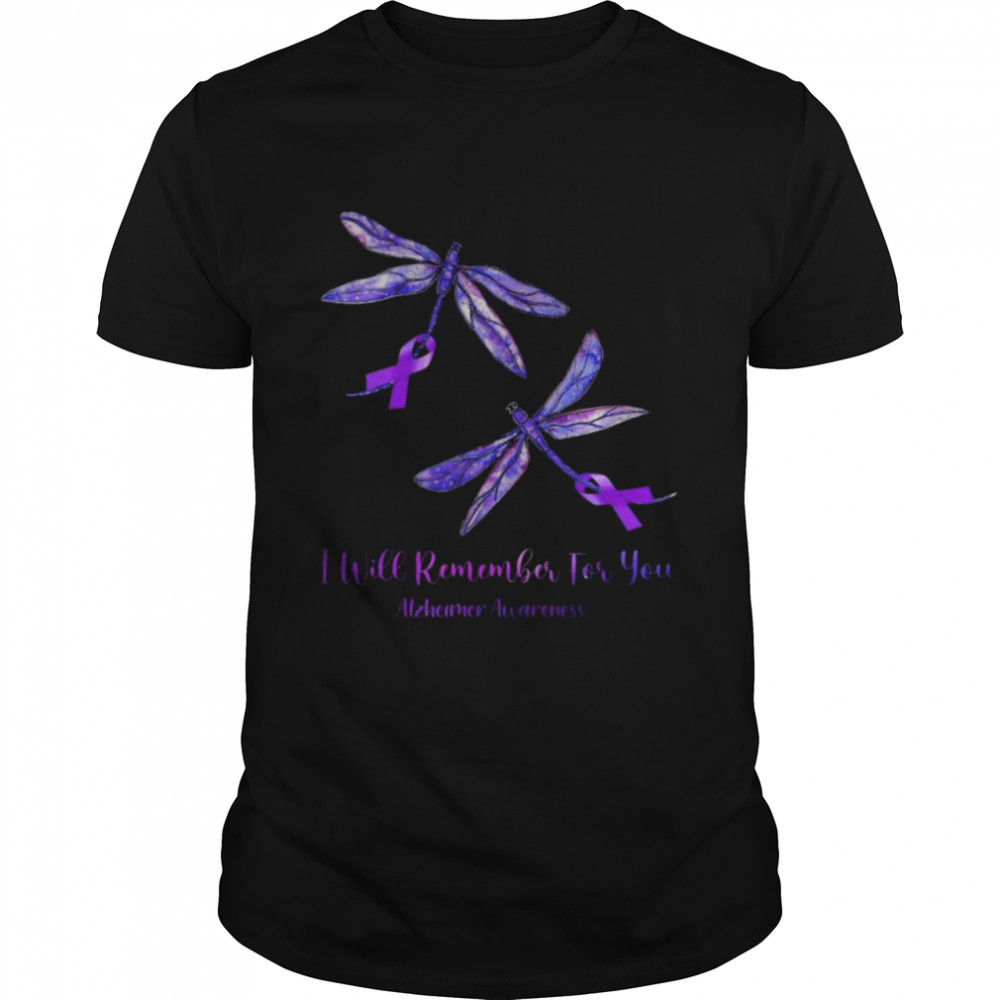 Butterfly I will remember for you Alzheimers Awareness Purple Shirt