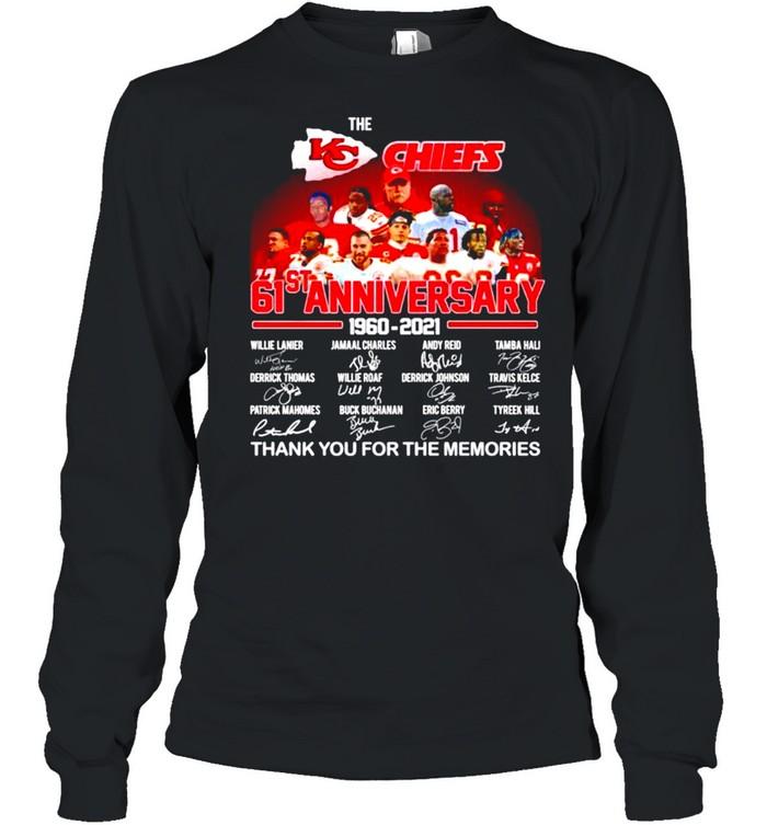 The Kansas City Chiefs 61st anniversary 1960 2021 signatures shirt Long Sleeved T-shirt