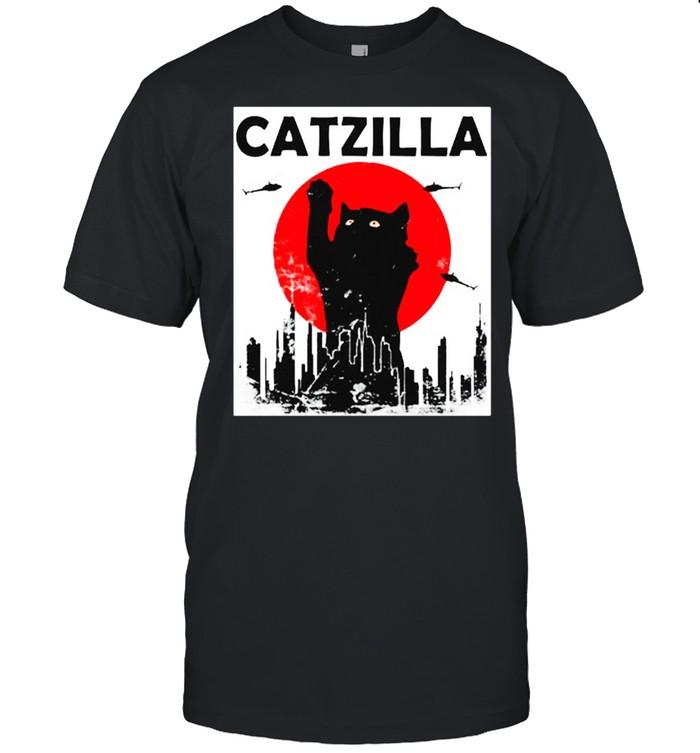 Black Cat Catzilla Sunset shirt Classic Men's T-shirt