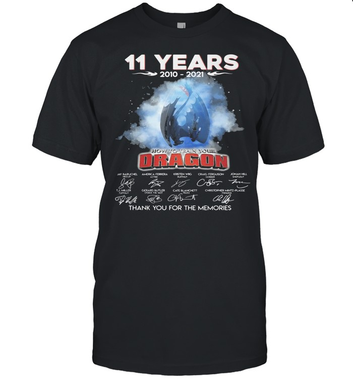 11 years 2010 2021 how ro train your Dragon signatures thank you for the memories shirt Classic Men's T-shirt