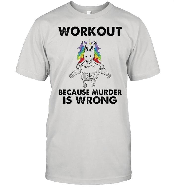 unicorn workout because murder is wrong shirt Classic Men's T-shirt