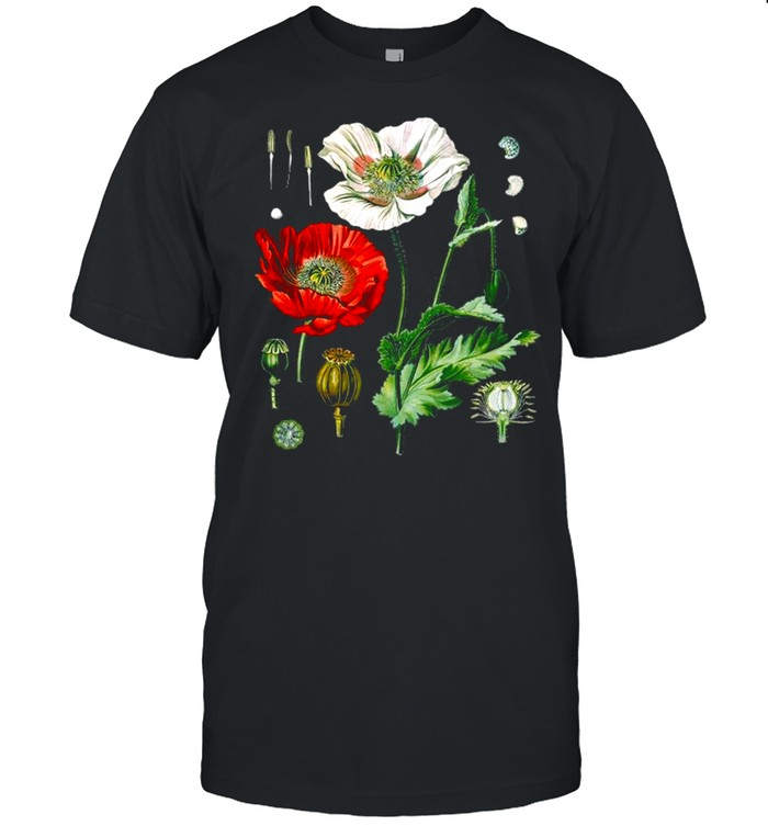 Red Poppy Botanical Flower Poppy Plant For Biologists shirt Classic Men's T-shirt