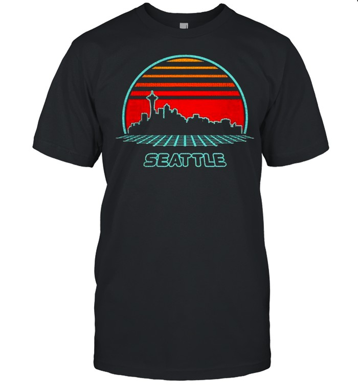 Seattle City Skyline Retro 80S Style Souvenir Vintage shirt Classic Men's T-shirt