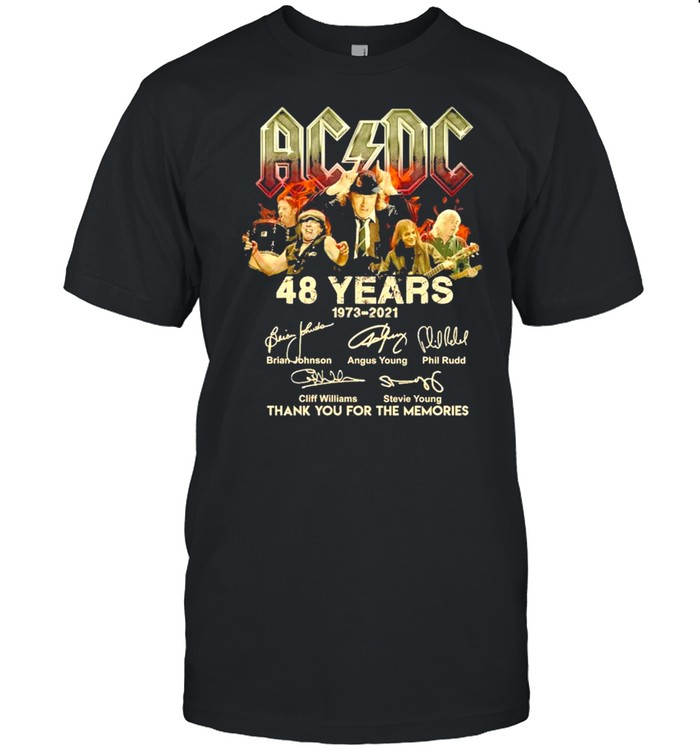 AC DC 48 Years 1973 2021 Signature Thank You For The Memories shirt Classic Men's T-shirt