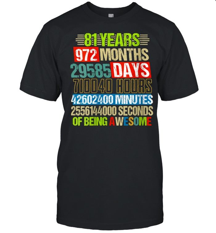 Womens 81st Birthday Countdown 81 Yrs Old Being Awesome shirt Classic Men's T-shirt