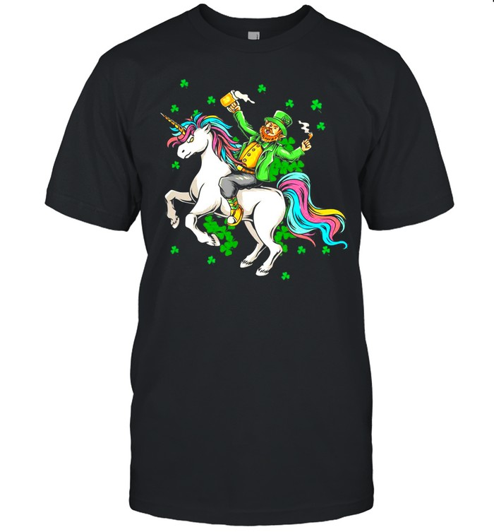 Lepricorn Leprechaun Riding Unicorn Gift For St Patricks Day  Classic Men's T-shirt