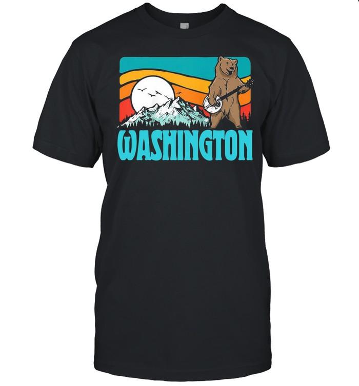 Washington Pnw Mountains Bluegrass Banjo Bear Vintage T-shirt Classic Men's T-shirt