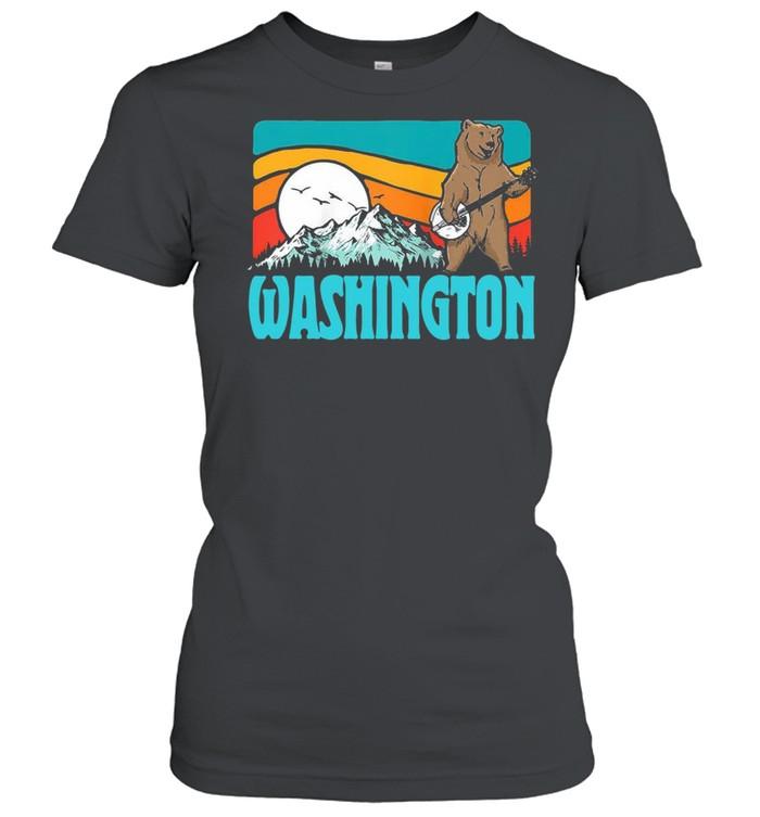 Washington Pnw Mountains Bluegrass Banjo Bear Vintage T-shirt Classic Women's T-shirt