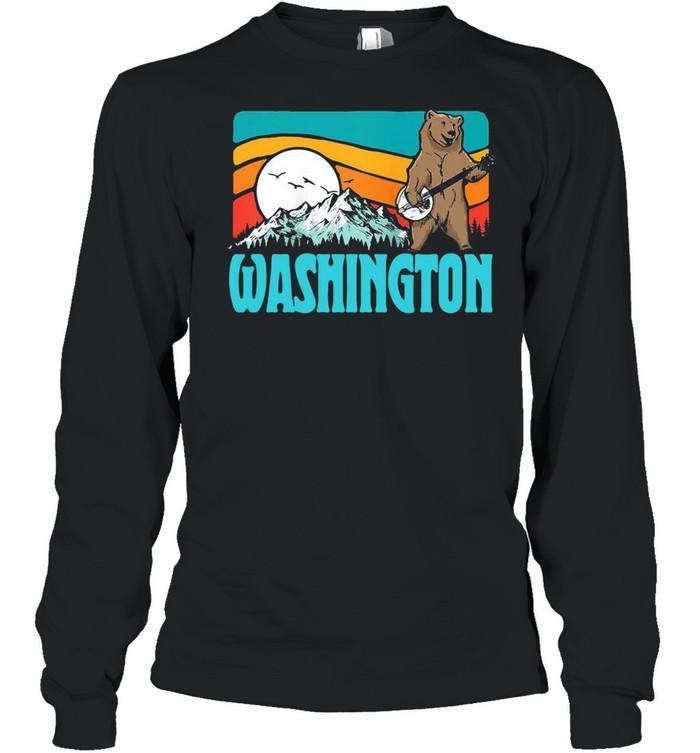 Washington Pnw Mountains Bluegrass Banjo Bear Vintage T-shirt Long Sleeved T-shirt