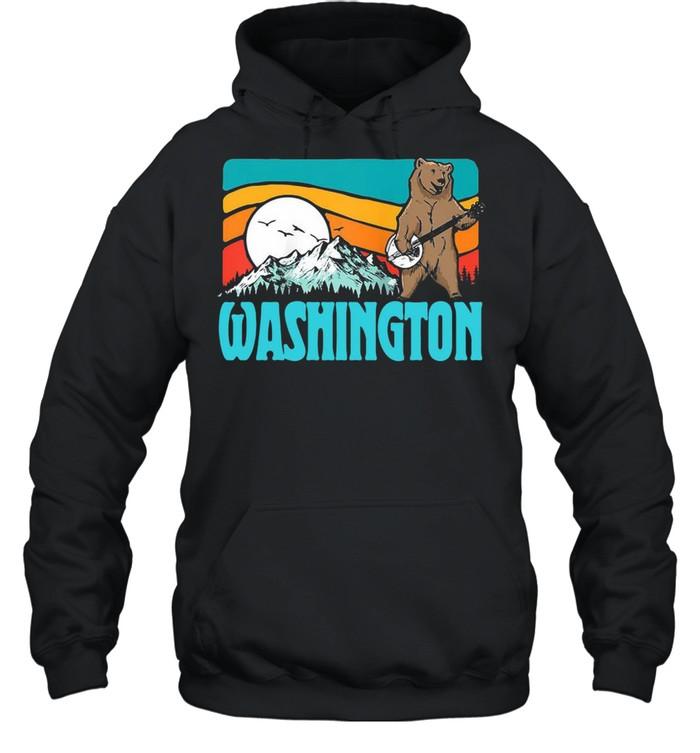 Washington Pnw Mountains Bluegrass Banjo Bear Vintage T-shirt Unisex Hoodie