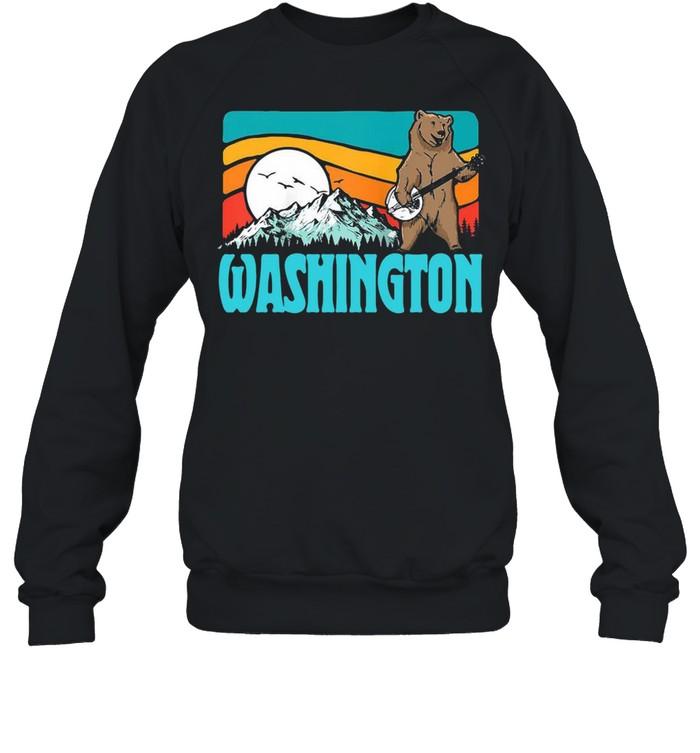 Washington Pnw Mountains Bluegrass Banjo Bear Vintage T-shirt Unisex Sweatshirt