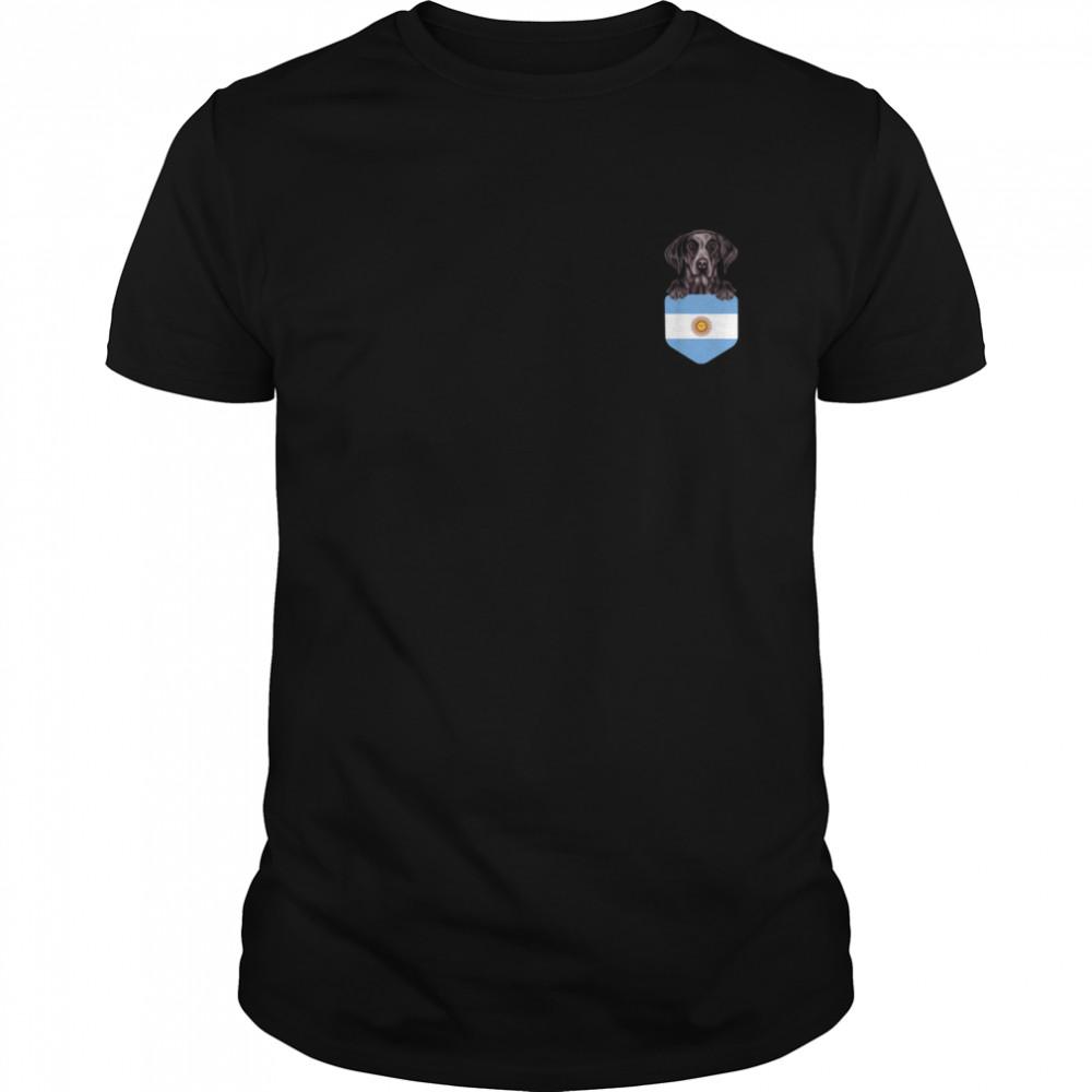 Argentina Flag German Shorthaired Pointer Dog In Pocket shirt Classic Men's T-shirt