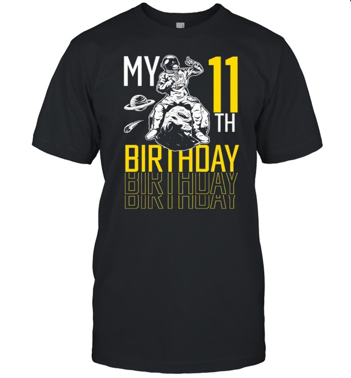 11 Year Old 11th Astronaut Birthday Space Rocket  Classic Men's T-shirt