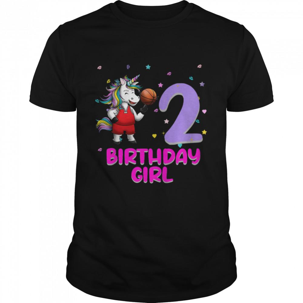 Unicorn Basketball 2nd Birthday Girl Love 2 Years Old shirt Classic Men's T-shirt