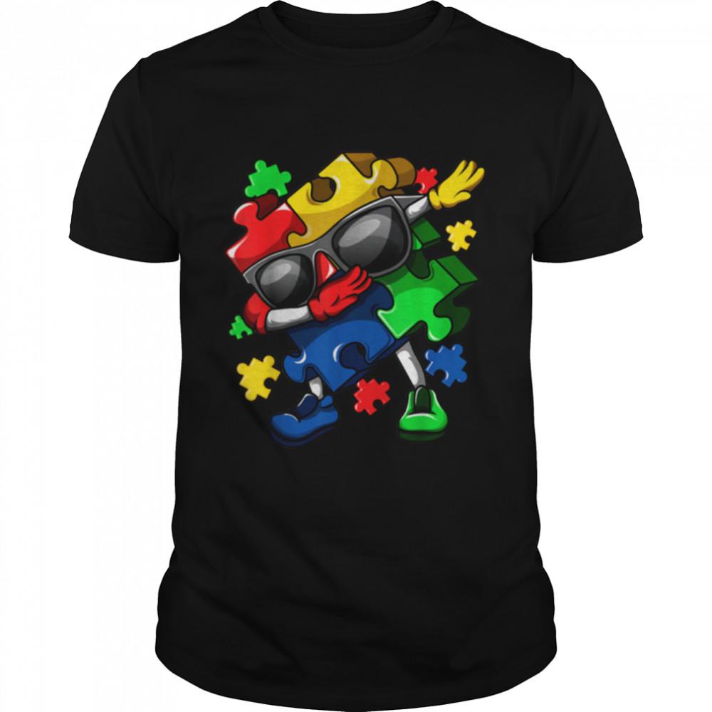 Dabbing Puzzle Pieces Autism Awareness Boys Girls shirt Classic Men's T-shirt