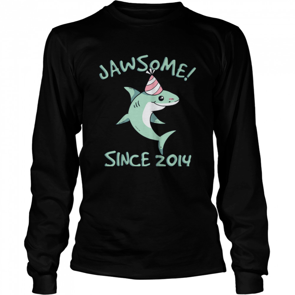 Shark Awesome Since 2014 Watch Out I'm 7 Years Old shirt Long Sleeved T-shirt