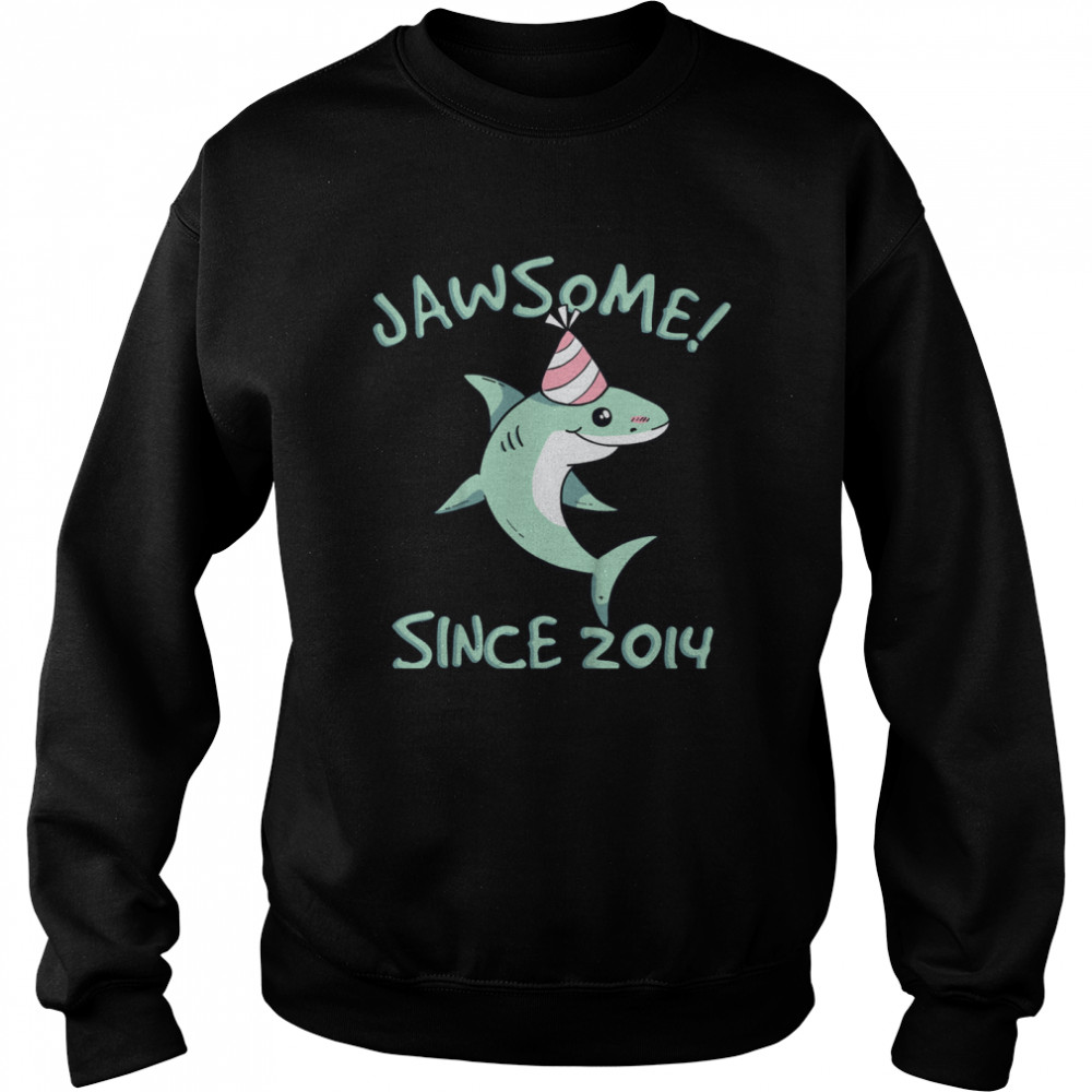 Shark Awesome Since 2014 Watch Out I'm 7 Years Old shirt Unisex Sweatshirt