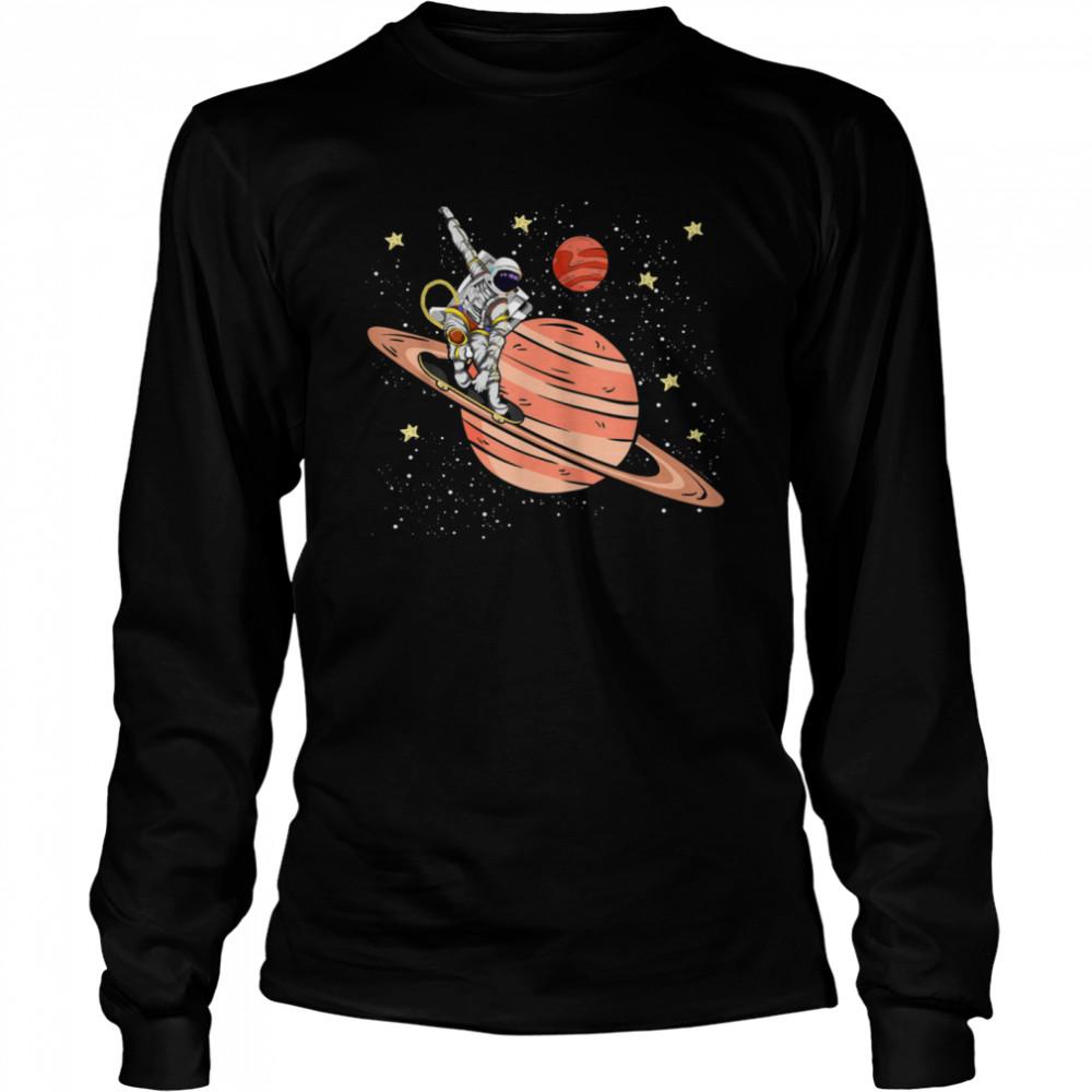Skateboarding Saturn Stars Space Science Skater Astronaut shirt Long Sleeved T-shirt