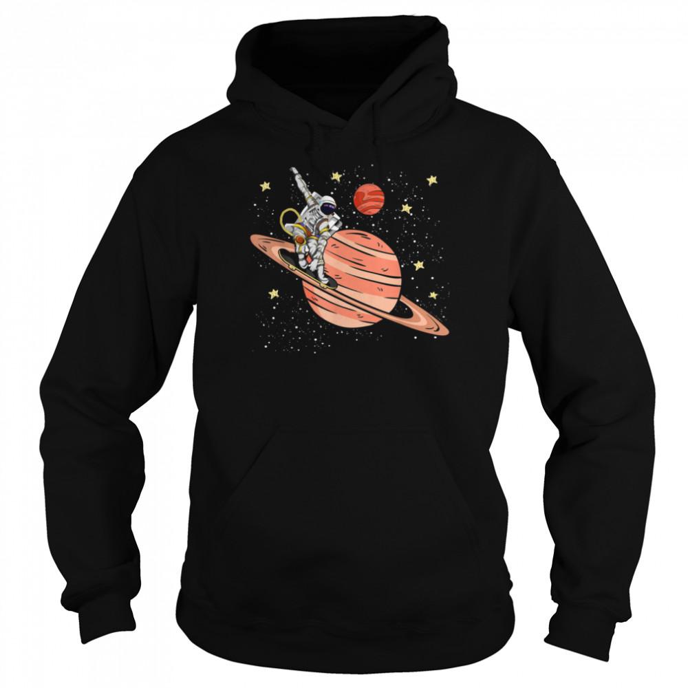 Skateboarding Saturn Stars Space Science Skater Astronaut shirt Unisex Hoodie