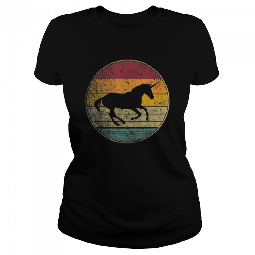 Unicorn Horse Vintage Distressed Retro Silhouette 70's 80's shirt Classic Women's T-shirt