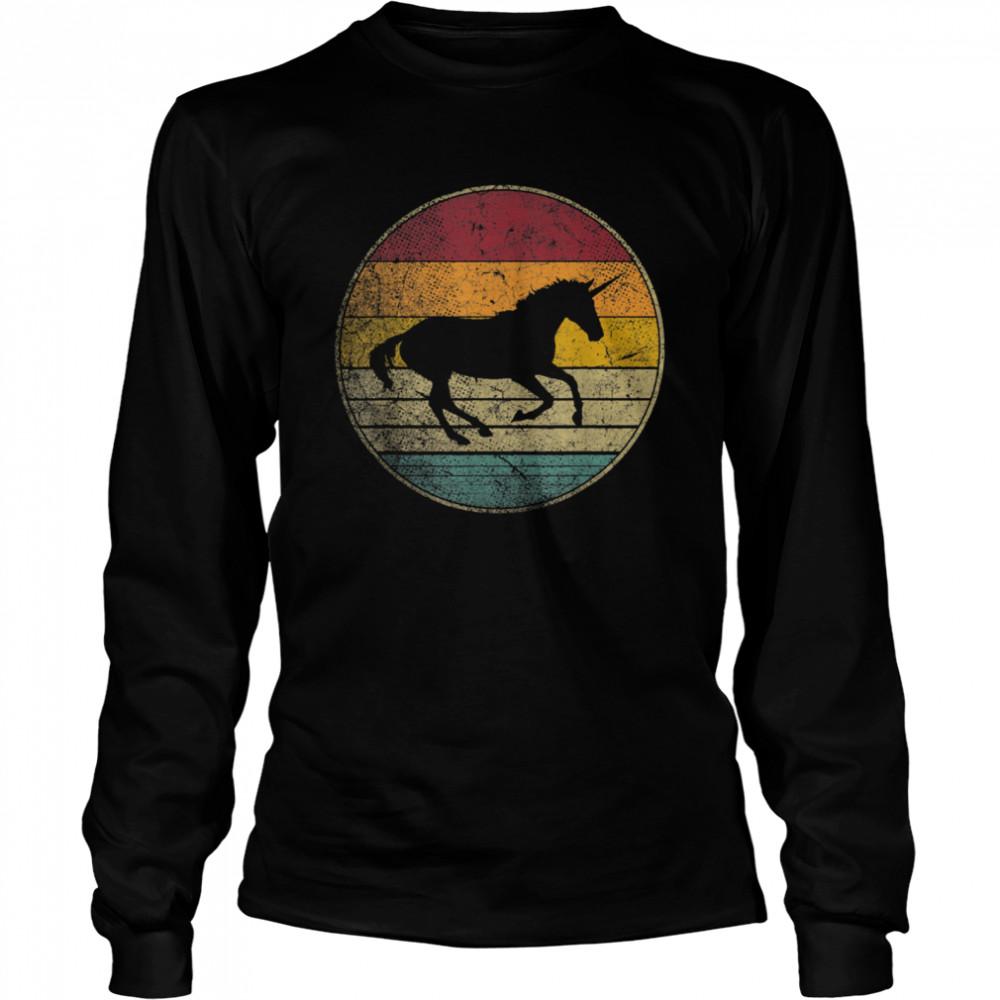 Unicorn Horse Vintage Distressed Retro Silhouette 70's 80's shirt Long Sleeved T-shirt