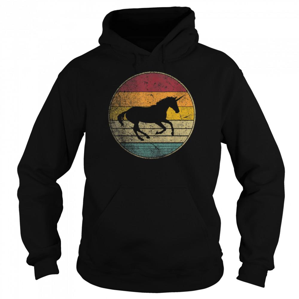 Unicorn Horse Vintage Distressed Retro Silhouette 70's 80's shirt Unisex Hoodie