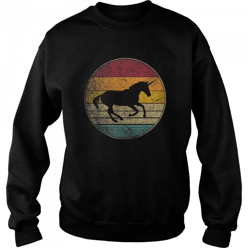 Unicorn Horse Vintage Distressed Retro Silhouette 70's 80's shirt Unisex Sweatshirt
