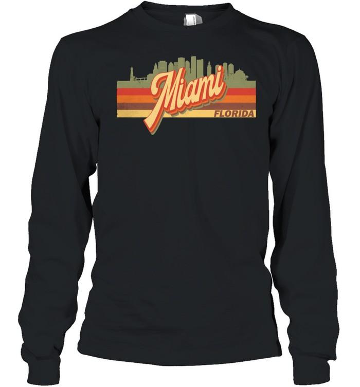 Vintage 80s 70s MIAMI Retro Florida shirt Long Sleeved T-shirt