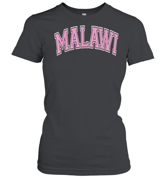 Malawi Varsity Style Pink Text shirt Classic Women's T-shirt