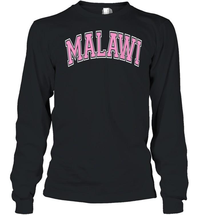 Malawi Varsity Style Pink Text shirt Long Sleeved T-shirt