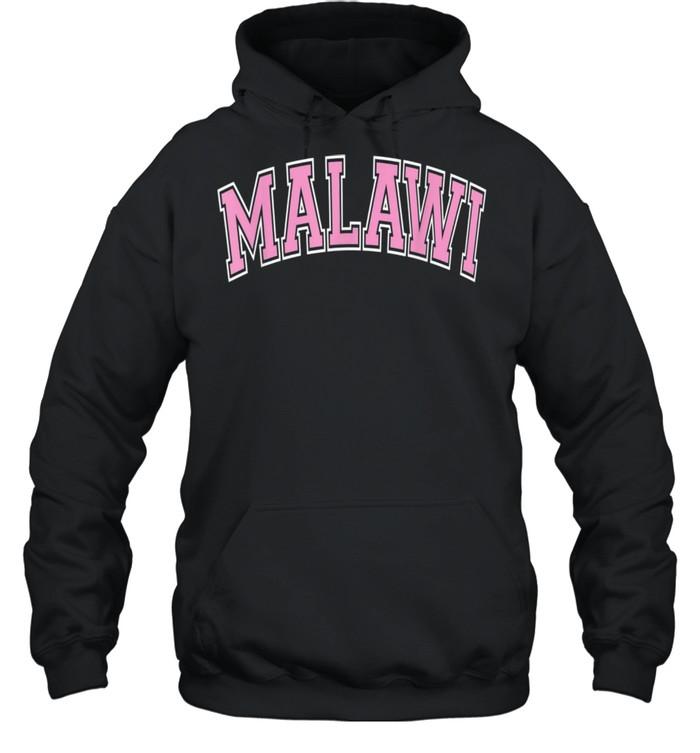 Malawi Varsity Style Pink Text shirt Unisex Hoodie