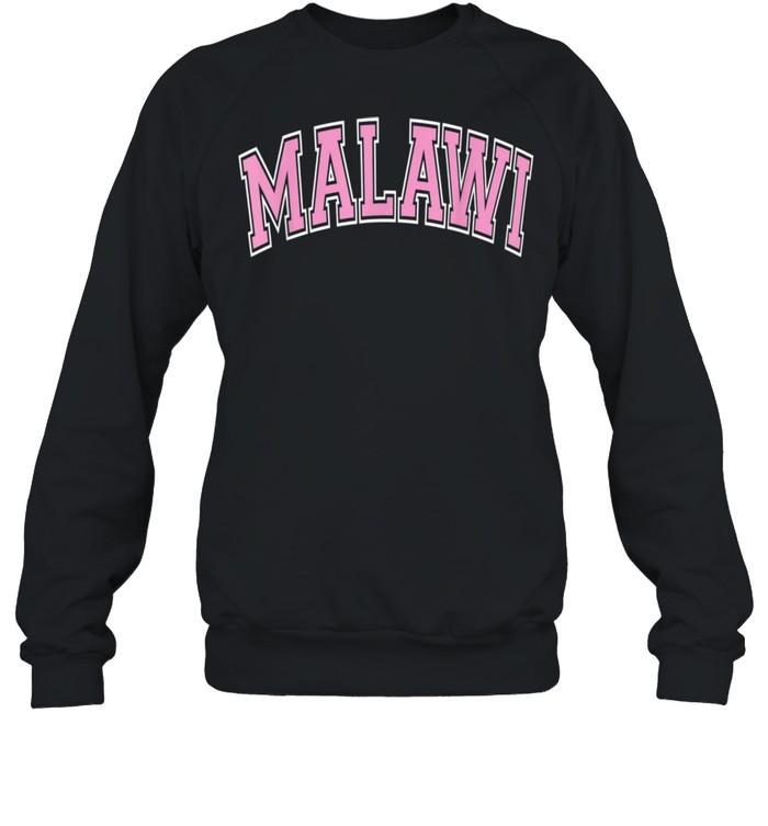 Malawi Varsity Style Pink Text shirt Unisex Sweatshirt