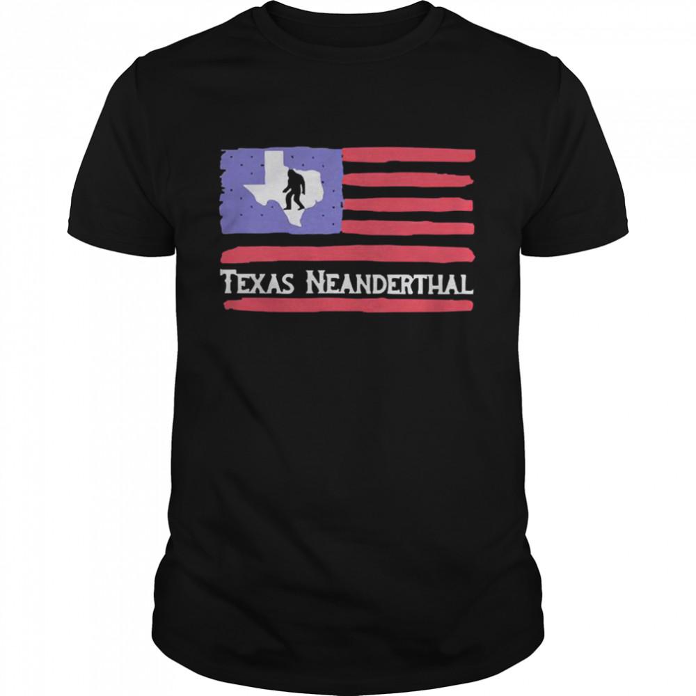 Bigfoot American flag Texas neanderthal shirt Classic Men's T-shirt