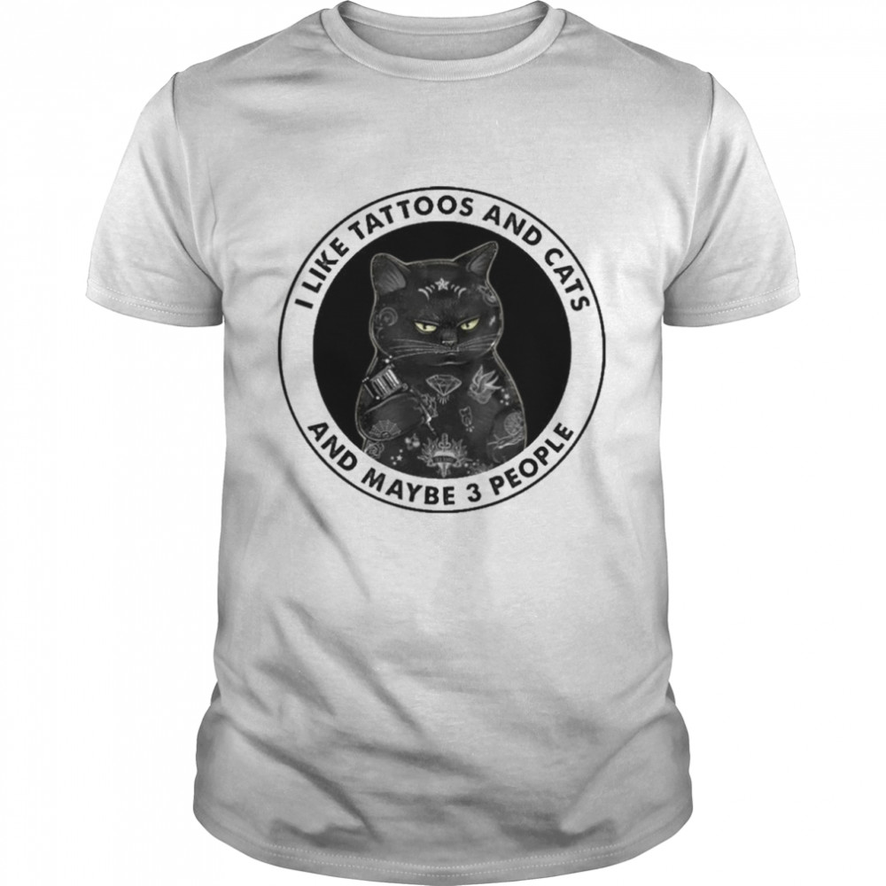 Black cat I like tattoos and cats and maybe 3 people tee shirt Classic Men's T-shirt