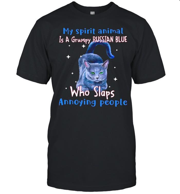 My Spirit Animal Is A Russian Blue Who Slaps Annoying People shirt Classic Men's T-shirt