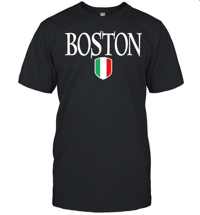 Boston Italy Flag White Text  Classic Men's T-shirt