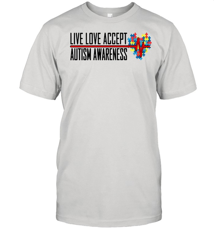 Live Love Accept Autism Awareness Heartbeat shirt Classic Men's T-shirt