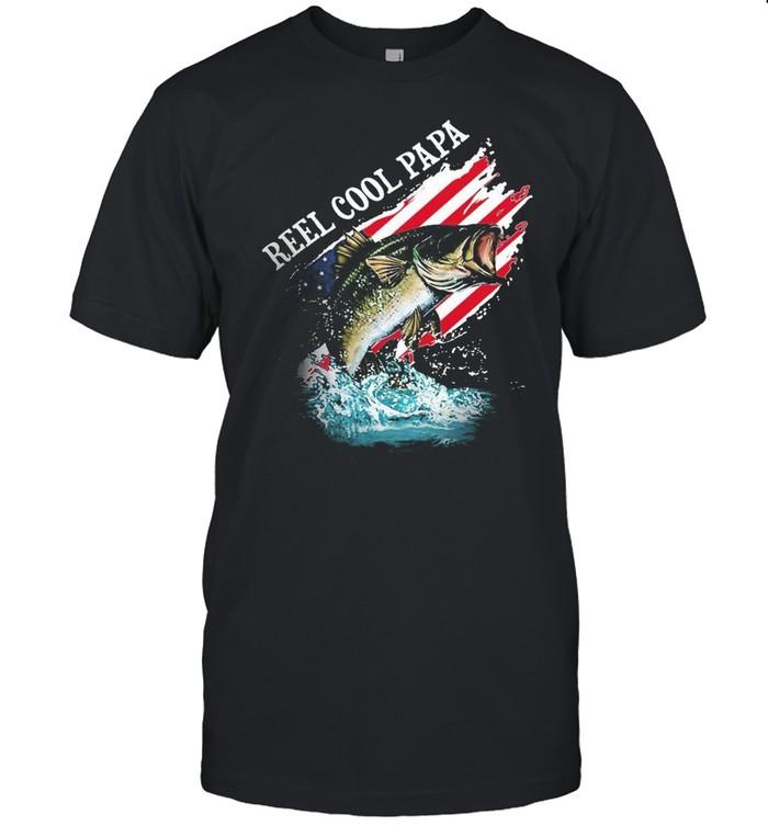 Fishing reel cool papa American flag shirt Classic Men's T-shirt