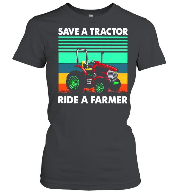 Save A Tractor Ride A Farmer Vintage Retro T-shirt Classic Women's T-shirt