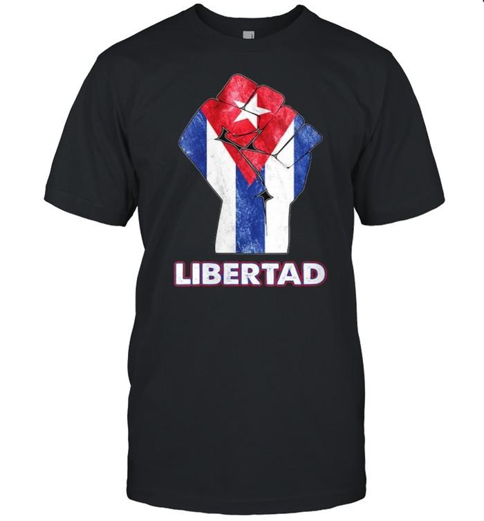 Libertad Cuban Protest Fist Flag S.O.S. Cuba Libre T- Classic Men's T-shirt