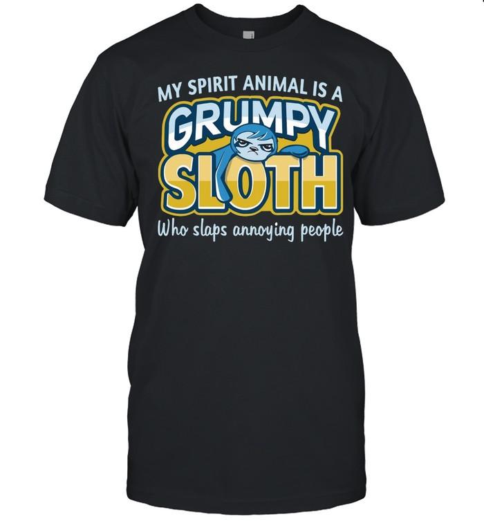 Monkey Sloth My Spirit Animal Is A Grumpy Sloth Who Slaps Annoying People T-shirt Classic Men's T-shirt