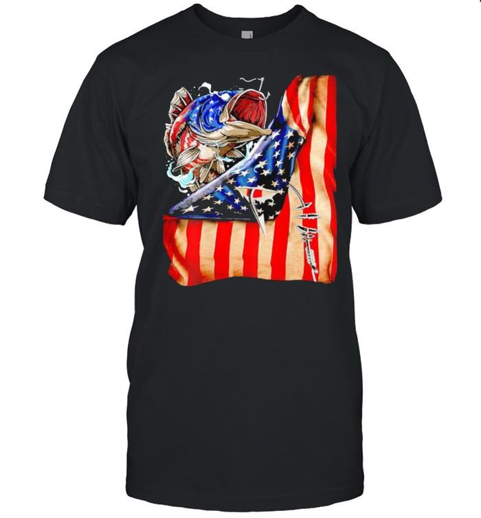 Fishing fish american flag shirt Classic Men's T-shirt