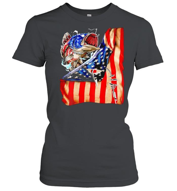 Fishing fish american flag shirt Classic Women's T-shirt